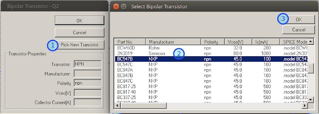 LTspice set transistor type