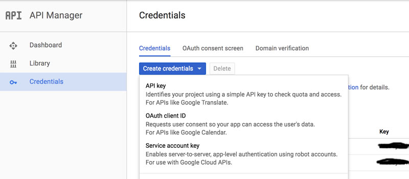 YouTube API Credentials page