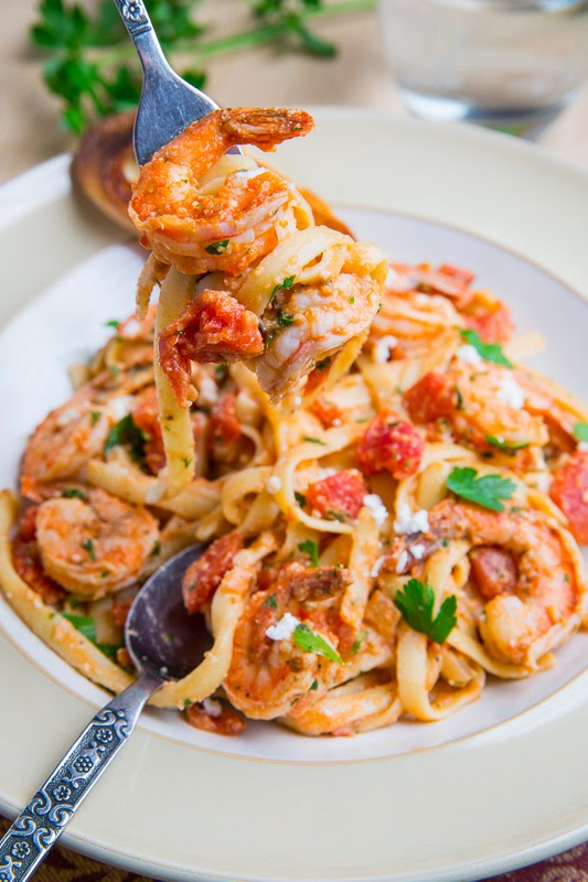 Shrimp Linguine in a Tomato and Feta Sauce