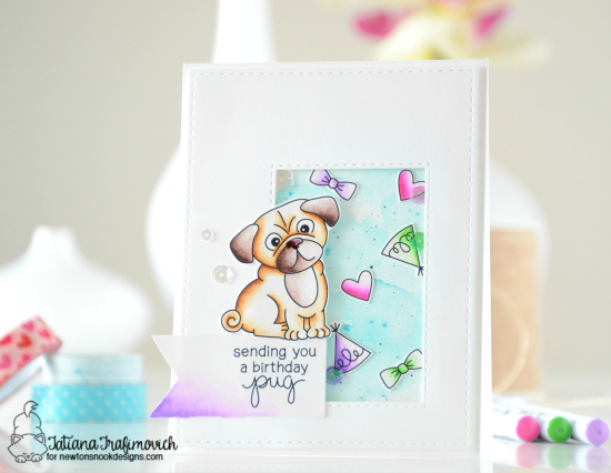 Pug Birthday Card by Tatiana Trafimovich | Pug Hugs stamp set by Newton's Nook Designs #newtonsnook