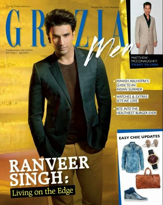 Ranveer Singh on the cover of Grazia Men, April 2014 issue