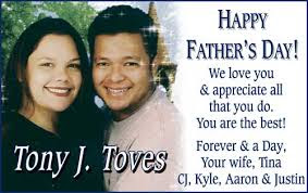 Father's Day From Son: We love you and appreciate all that you do. Best! Forever and a day, your and a day, your wife, tina