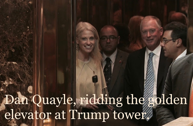 Dan Quayle, ridding the golden elevator at Trump tower. @HowardMortman