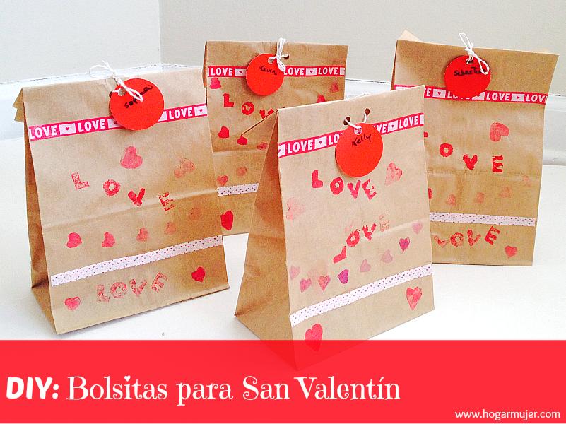 Bolsitas de papel decoradas para San Valentin