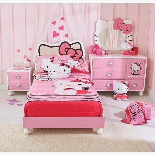 Gambar Kamar Tidur Hello Kitty Minimalis Warna Pink