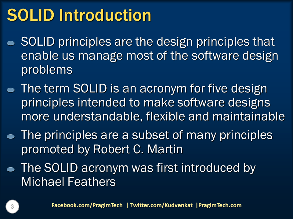Sql Server Net And C Video Tutorial Solid Design Principles Introduction Slides