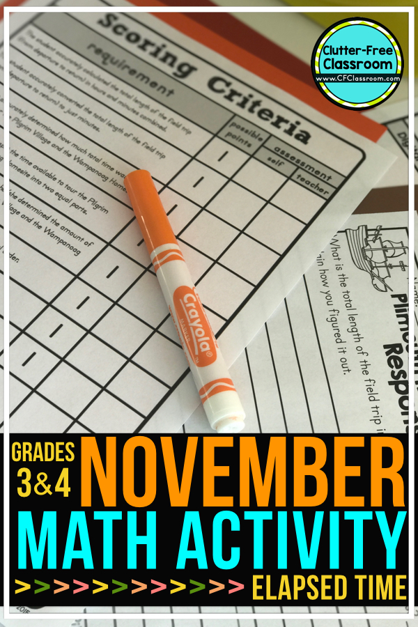 Elapsed time strategies will help third grade & 4th graders with word problems, worksheets, on assessments & with other projects that require critical thinking. Using a number line is a great strategy to use when completing elapsed time activities, task cards, performance based assessments & project based learning activities. Use the example on an anchor chart & the Clutter-Free printables in your guided math lesson to provide practice to 3rd grade, fourth grade or homeschool students.