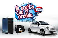 Logo Concorso ''La scelta che ti premia'': vinci 12 buoni Amazon da 100€, tre Samsung Galaxy S8 e 1 Fiat 500