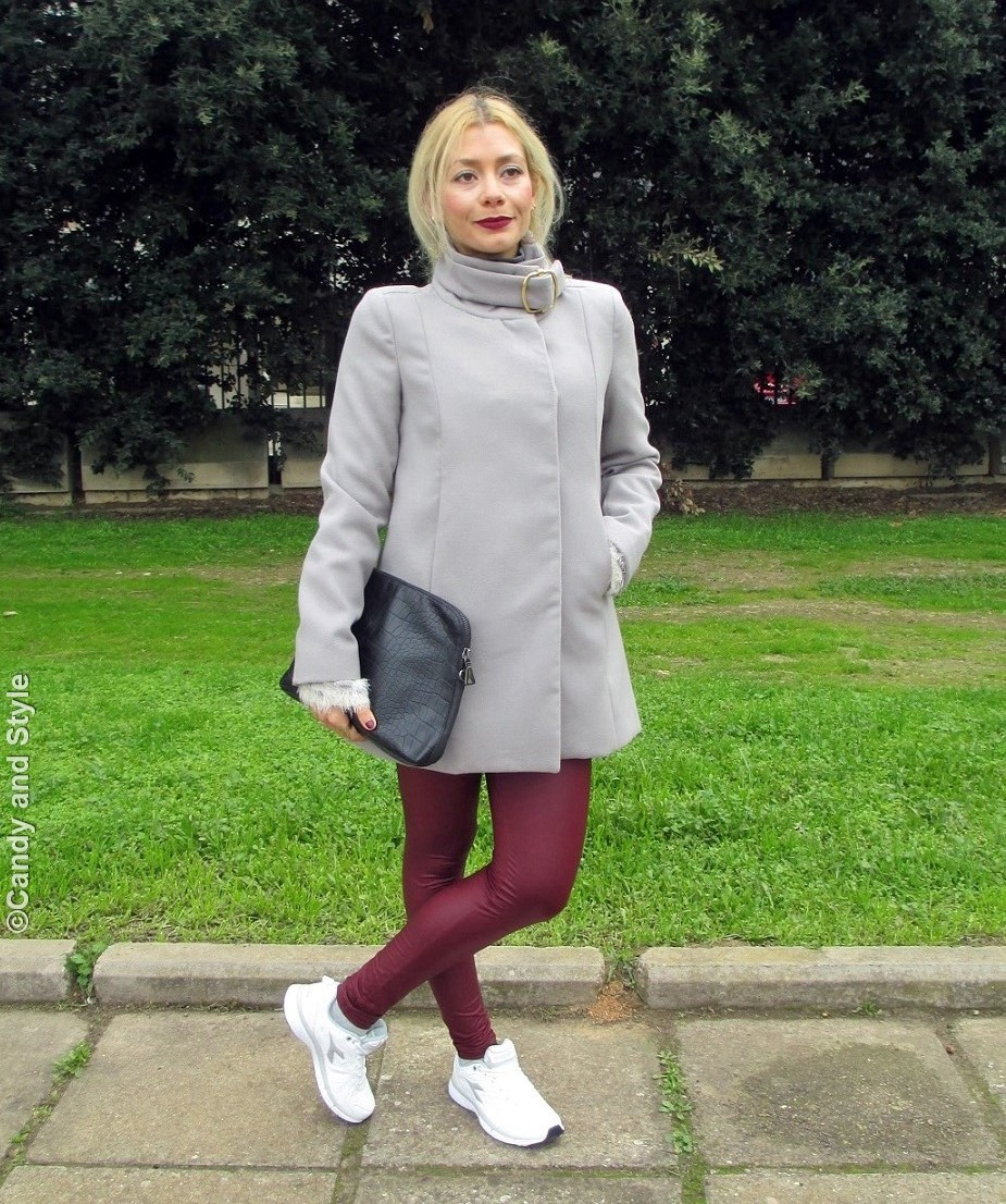 GreyCoat+FluffySweater+BurgundyLeggings+WhiteTrainers+Clutch - Lilli Candy and Style Fashion Blog