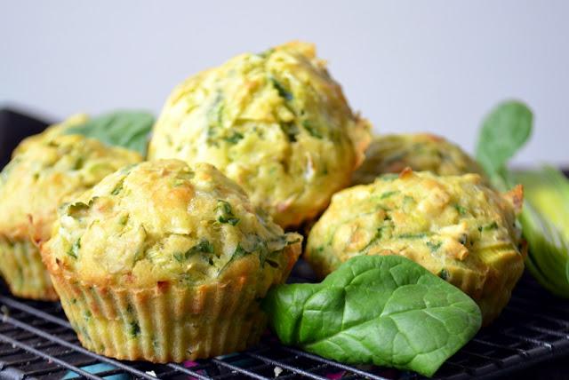 muffiny-z-porem Muffiny z porem i szpinakiem