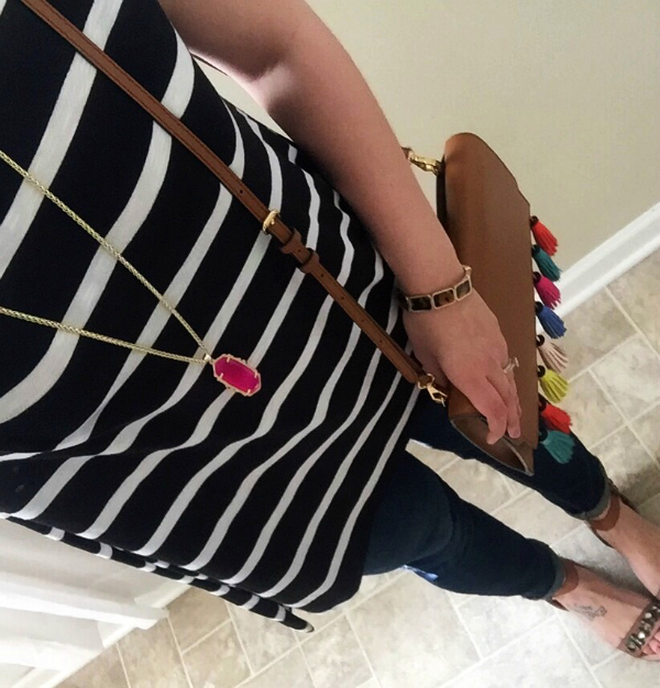 jeweled sandals, tassel bag, kendra scott necklace