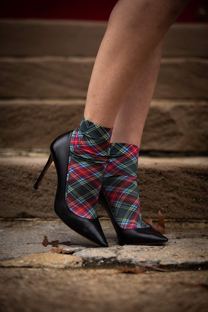 plaid socks, socks and heels