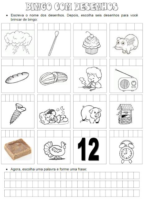 Bingo com desenhos - Palavras que têm a família silábica do D, P, R e T