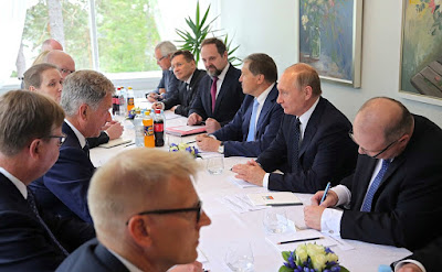Vladimir Putin at the Russian-Finnish talks in Finland.