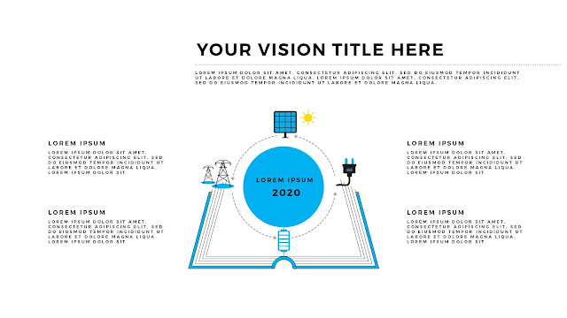 Free Infographic Books and Vision PowerPoint Template with Energy Icons