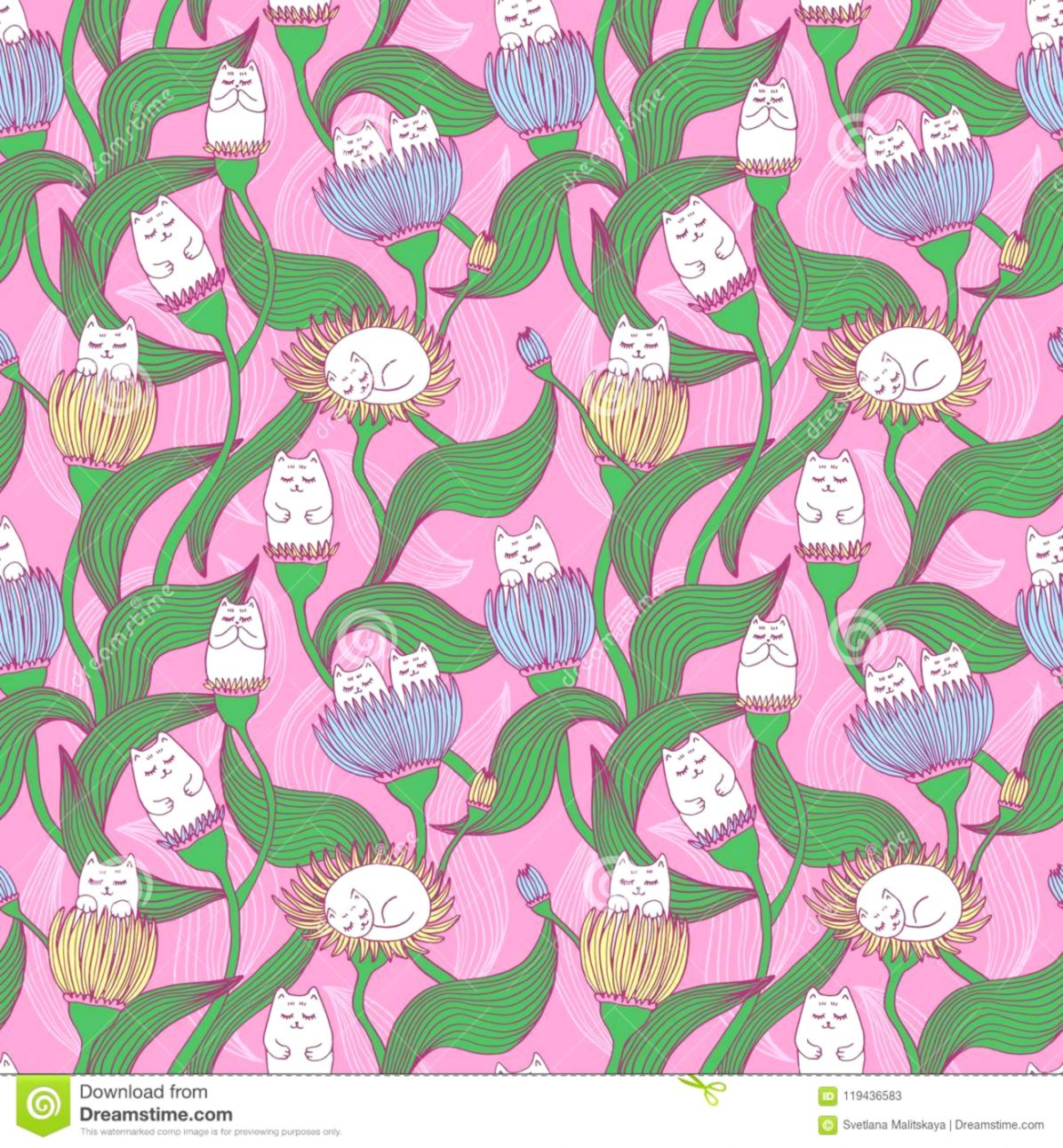 00d81516e26 Cute Seamless Pattern With Cats And Flowers Wallpapers For Kids