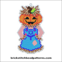 Click to view the Girl Pumpkin Scarecrow Halloween brick stitch bead pattern charts.