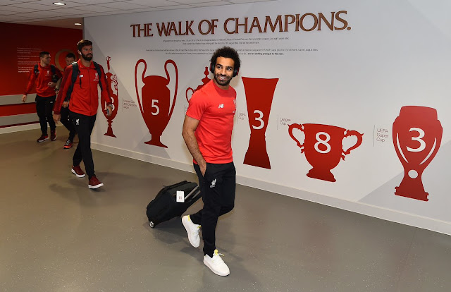 Mohammed Salah, Alisson and Liverpool players arriving at Anfield ahead of their clash against Brighton on August 25 2018
