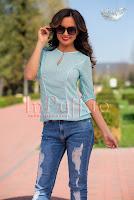 Bluza dama voal turquoise cu buline albe si danteluta (MBG)