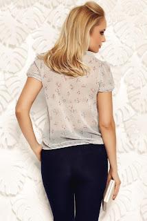 Bluza dama Fofy gri eleganta cu croi larg din material vaporos si transparent cu elastic in talie2