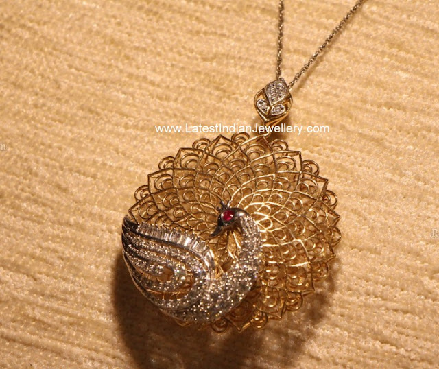 Filigree Peacock Pendant