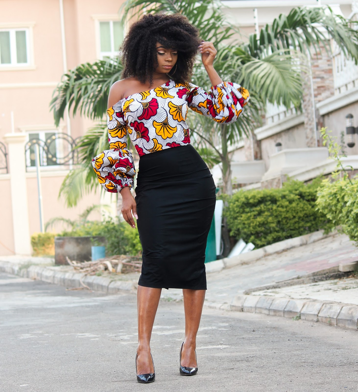 ANKARA TOP + BLACK MIDI SKIRT - African 'Kpotuba' Print Skewed Neckline Top with Black Midi Skirt with Zara Court Shoes