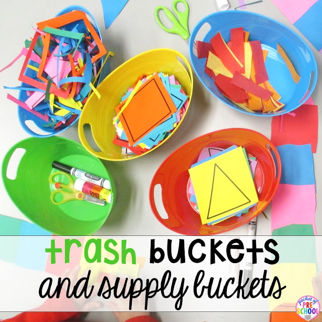 You can keep kids at their activity tables, and make sure they're tidy, by providing them with buckets for trash and supplies.