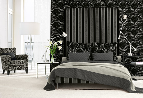 Wonderful bedroom decor ideas in black and white home design - Black white and gray bedroom ideas ...