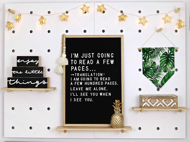 Hygge Winter Boho Home Styling Inspiration – Aztec Bohemian Theme for Bedroom, Living Room or Home Office on a Budget - Peg Board Styling with Felt Letter Board