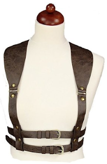 womens steampunk accessories brown leather underbust harness
