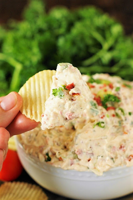 Creamy BLT Dip image - it's a perfect easy dip for game day.