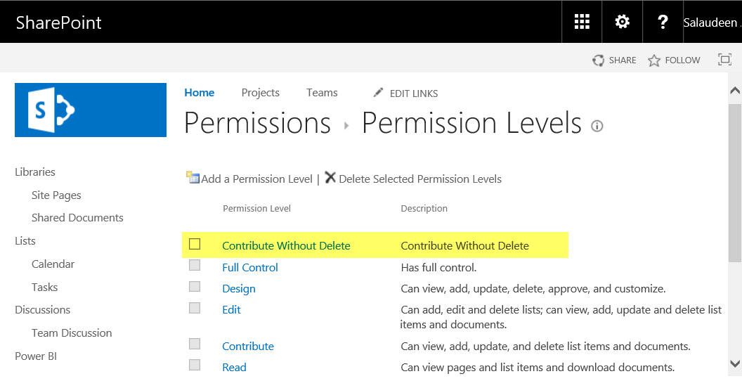 sharepoint online powershell create permission level