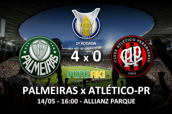 Veja o resumo da partida com os gols e os melhores momentos de Palmeiras 4x0 Atlético-PR pela 1ª rodada do Brasileirão 2016.