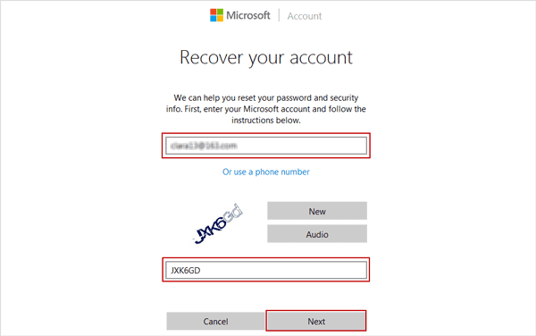 enter Microsoft account to reset password