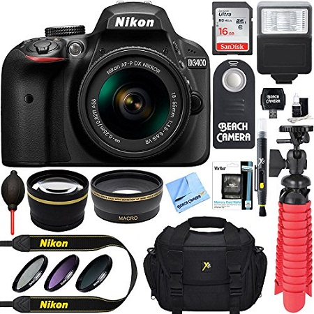 5. Nikon D3400 DSLR Camera W/18-55mm Lens Pro Bundle (Black)