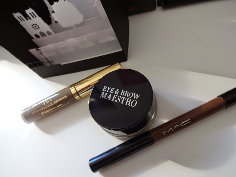giorgio armani beauty eye & brow maestro, mac veluxe brow liner, collistar gel sopracciglia, prodotti sopracciglia