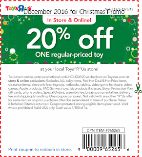 Toys R Us coupons december 2016