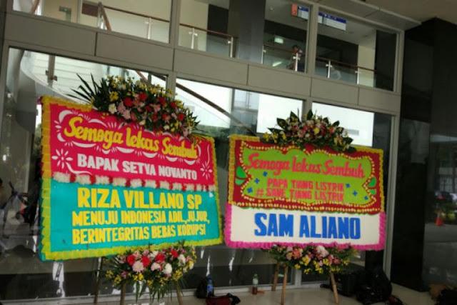 Dua Kalimat Gregetan di Karangan Bunga untuk Novanto