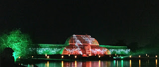 Pic of Kew's Palm House lit up in red and green light