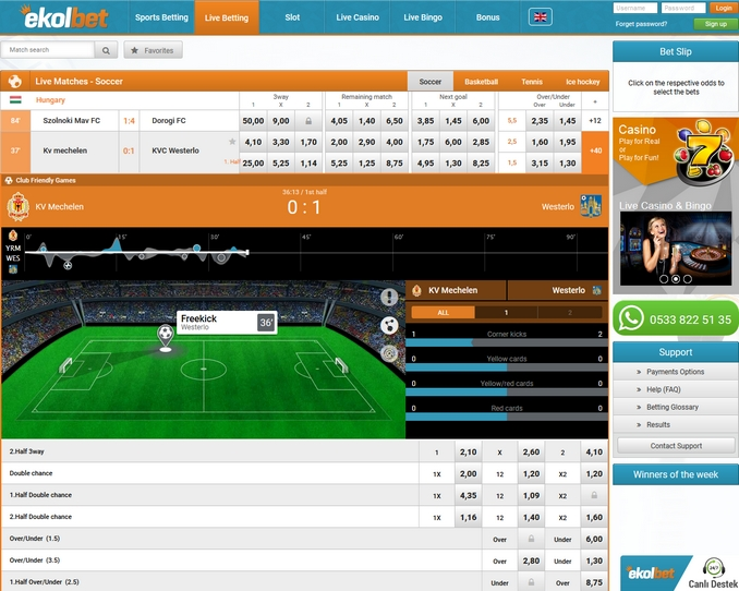 Ekolbet Live Betting Screen