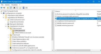 lunghezza e scadenza passsword
