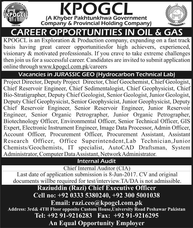 KPK Oil & Gas Company Limited KPOGCL Jobs 2017, Apply Online