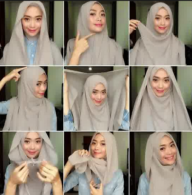 Model Baju Muslim Gamis Kombinasi Hijab Syar'i Terbaru