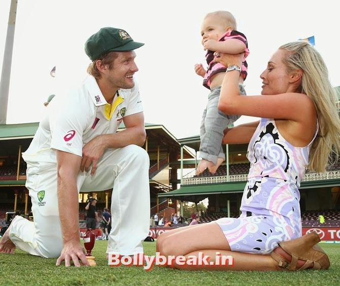 Shane Watson of Australia, his son and wife pose with the urn, Australian Cricketers WAGS