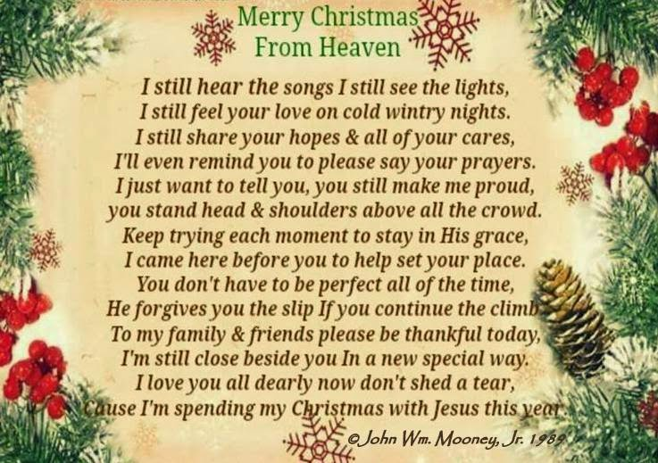 merry christmas from heaven poem