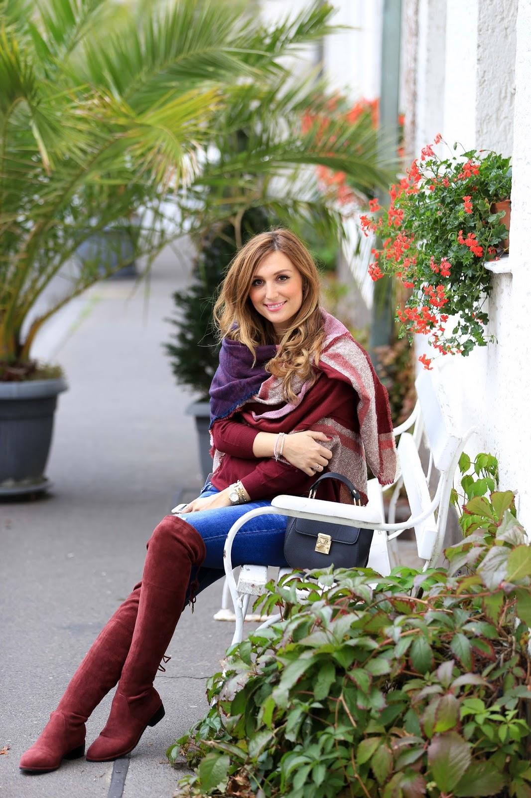 Carmentrend - carmen Look - Off schoulder -off shoulder Pullover - weinrot- Fashionblogger