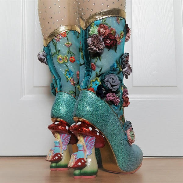 flower mesh glitter boots being worn with toadstool and fairy heels
