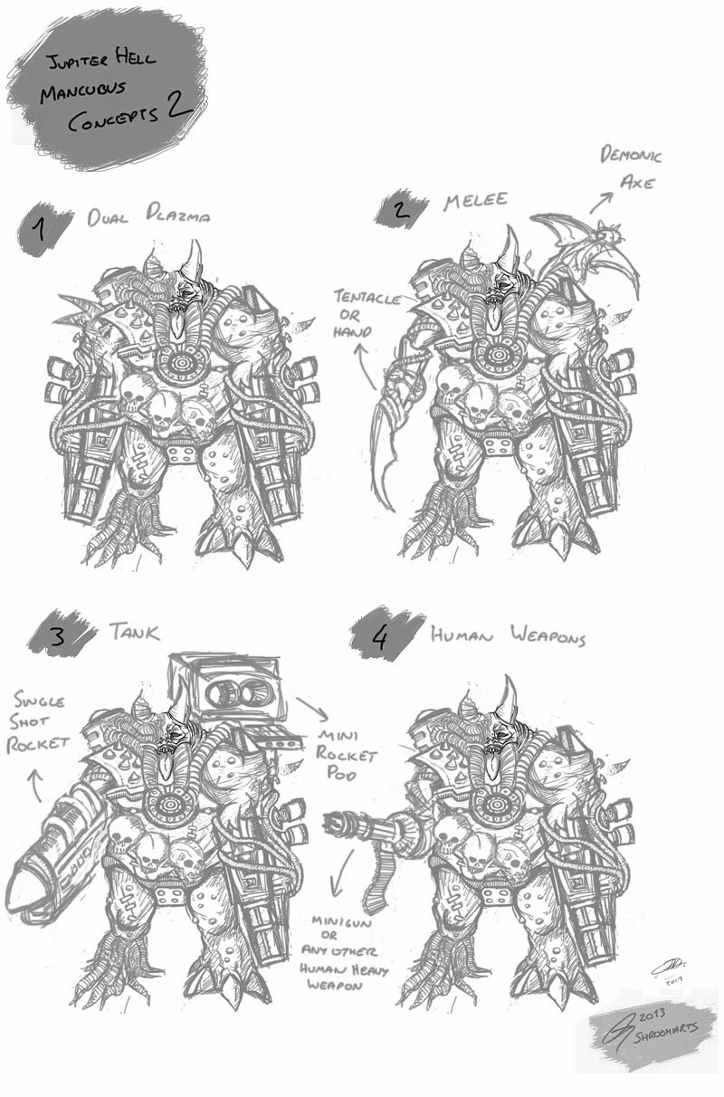 Jupiter hell mancubus concept art weapon layouts