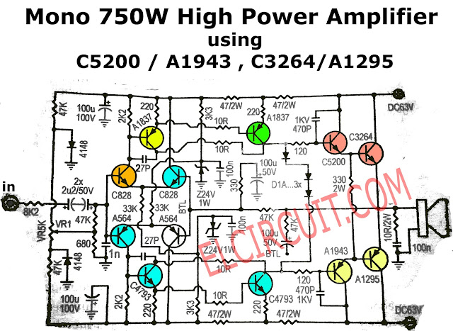 750W Mono Power Amplifier Schematic diagram