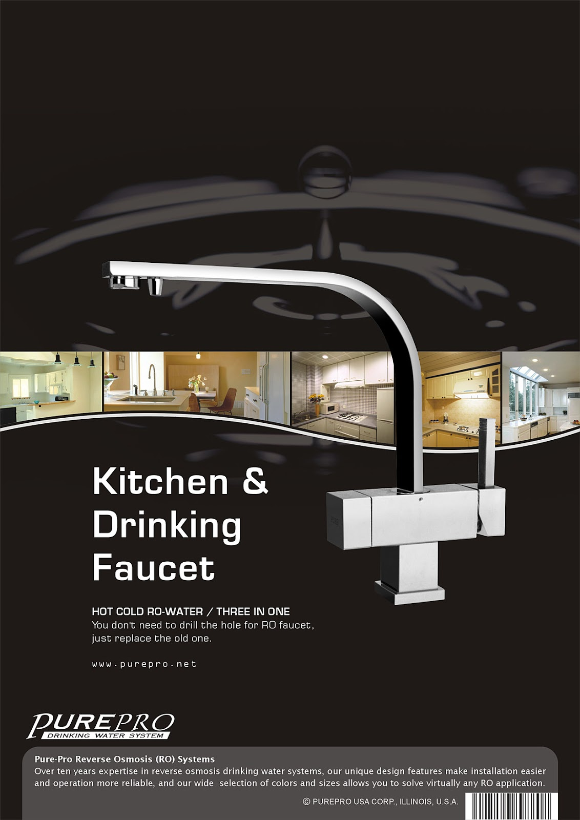 PurePro ® USA Kitchen & Drinking Faucet Part #215 Tree in One RO Faucet